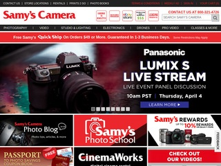 Go to samys.com website.