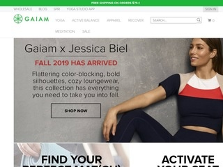 This is what the gaiam.com website looks like.