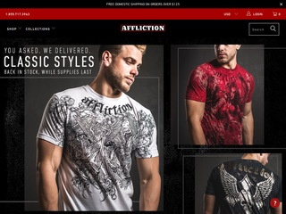 This is what the afflictionclothing.com website looks like.