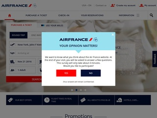 This is what the airfrance.us website looks like.