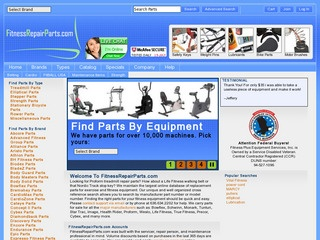 This is what the fitnessrepairparts.com website looks like.