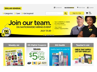This is what the dollargeneral.com website looks like.