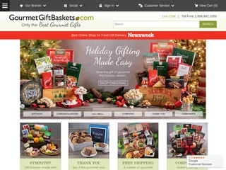 This is what the gourmetgiftbaskets.com website looks like.